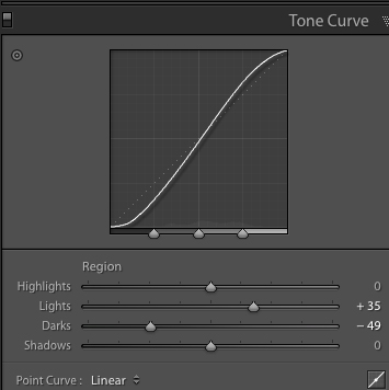 Tonal Curve Adjustment in Lightroom