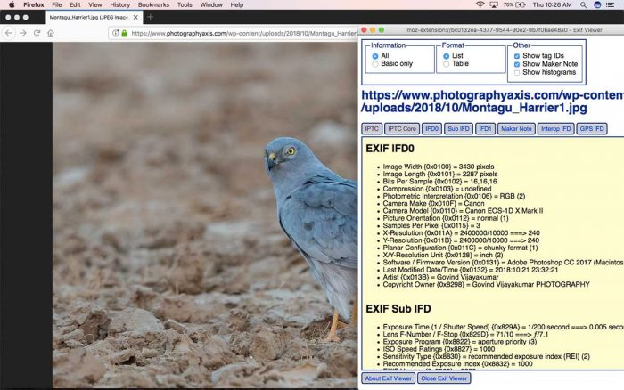 EXIF Data Viewer Google Mozilla Firefox Plugin