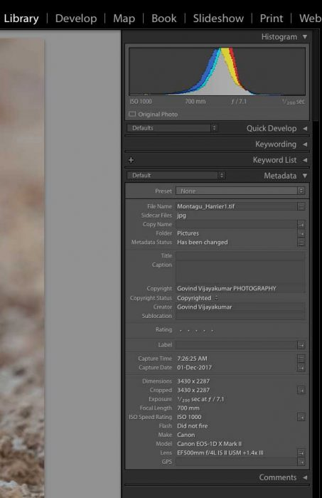 Lightroom EXIF Data