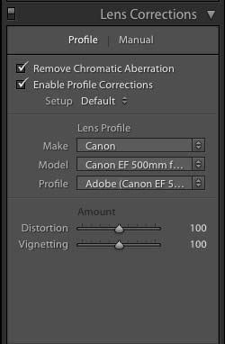 Lightoom Lens Correction Sliders