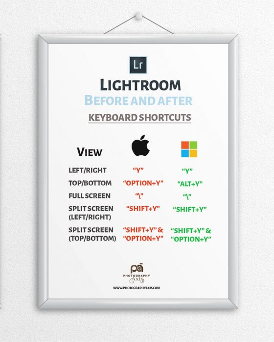 Lightroom Before and After Keyboard Shortcuts