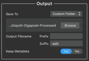 AI Gigapixel Output Options