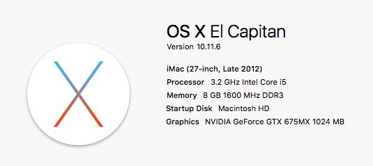 Late 2012 iMac Configuration