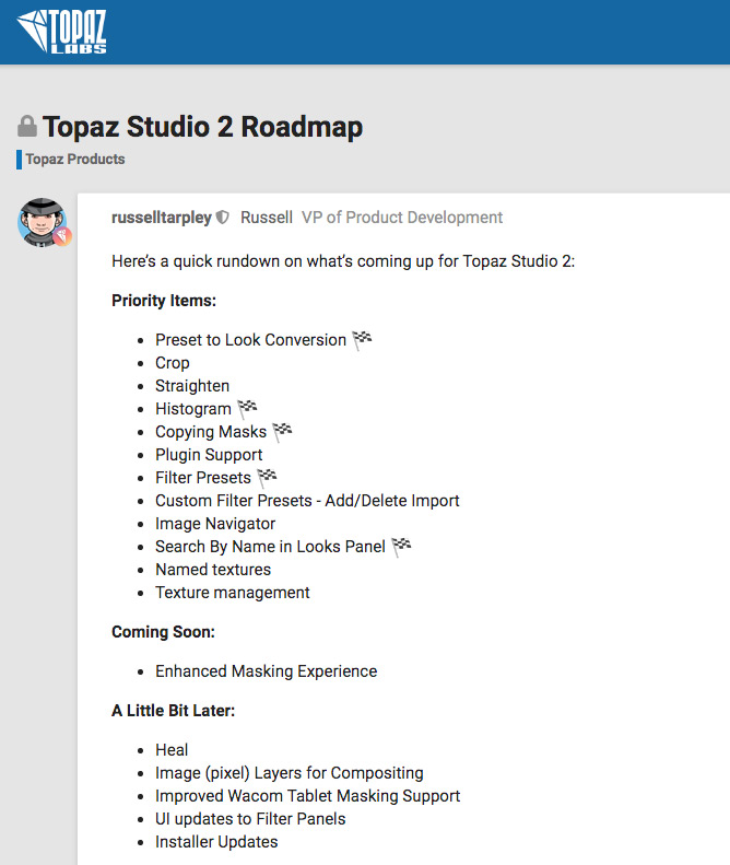 Topaz Studio 2 Roadmap