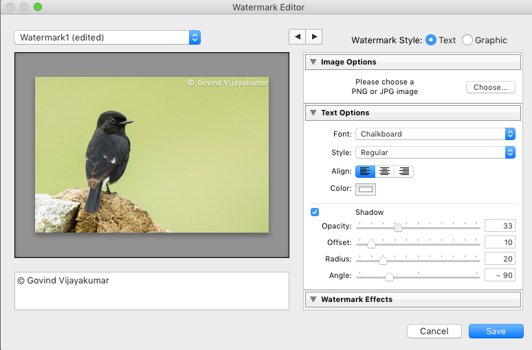 Watermark editor in Lightroom