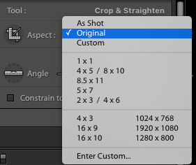 Aspect Ratio Selection for crop in Lightroom