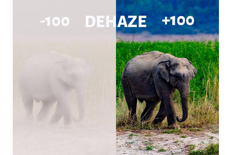 Dehaze Slider in Lightroom- -100 and +100