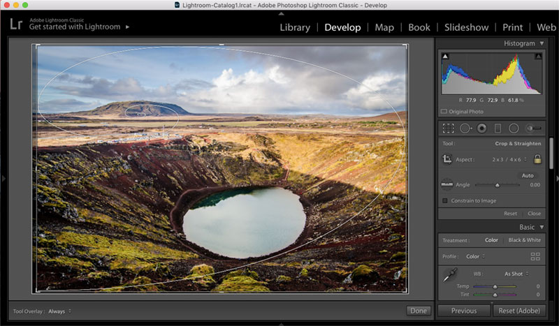 Golden Spiral Grid in Adobe Lightroom