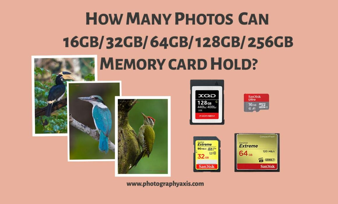 How many photos can 16GB/ 32GB/ 64GB/ 128GB/ 256GB Memory Card can Hold
