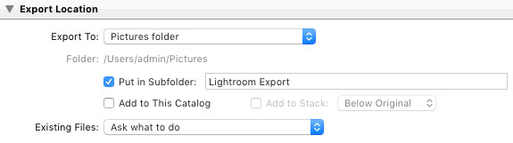Lightroom Export Settings for Facebook-File Export Location