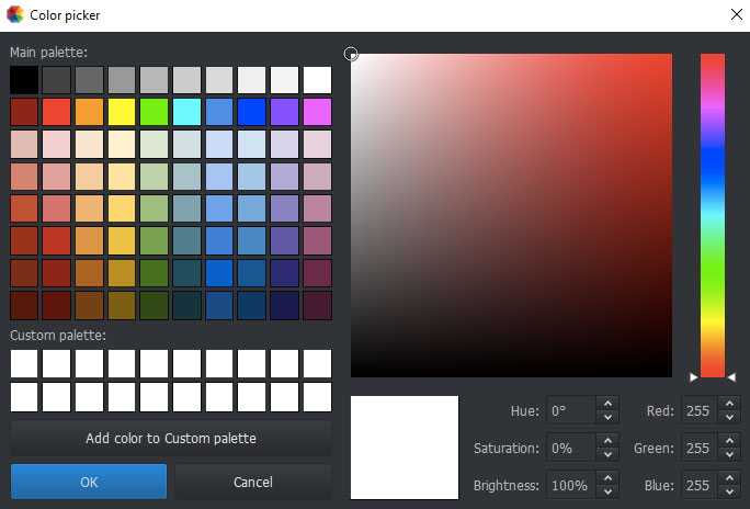 Photoworks Change Background Color picker