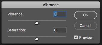 Vibrance and Saturation Sliders in Photoshop